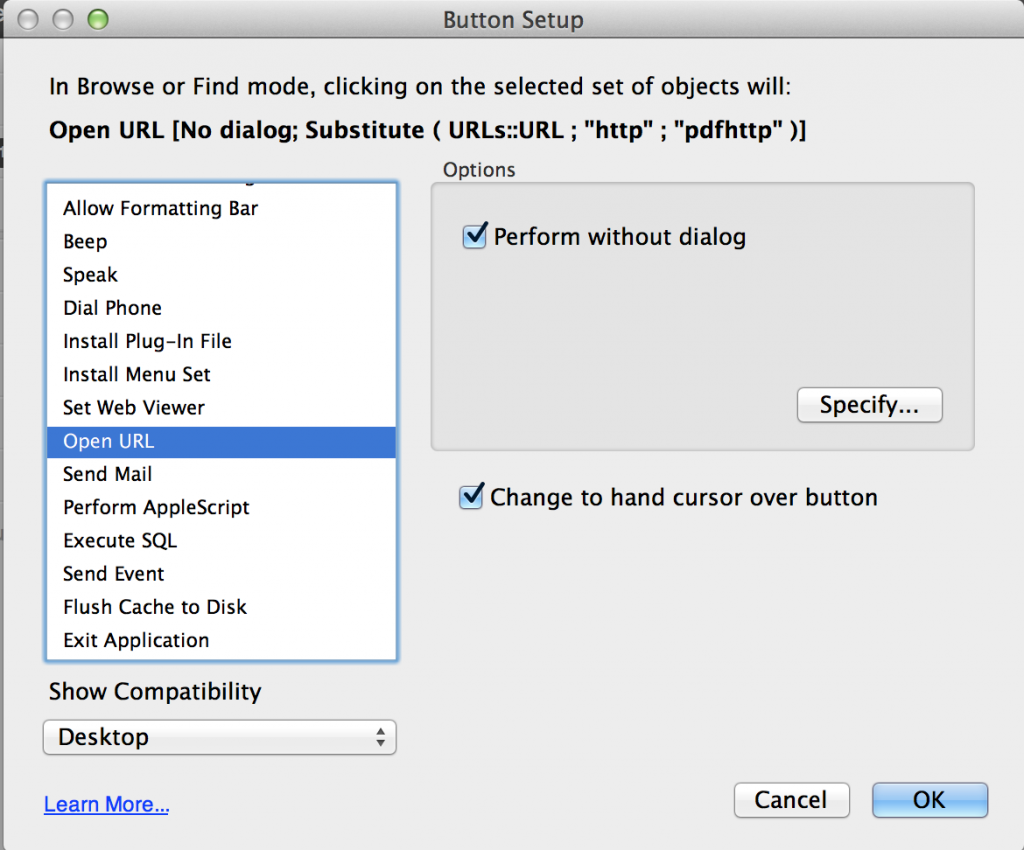 """FileMaker Button setup dialog"""