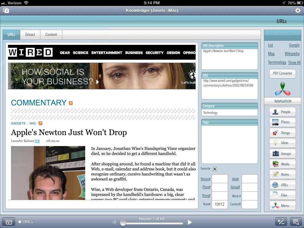 URLs Screen In FileMaker Go On iPad